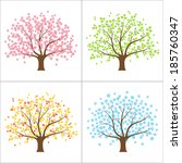 tree in spring  summer  autumn... | Shutterstock .eps vector #185760347