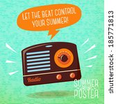 cute summer poster   radio... | Shutterstock .eps vector #185771813