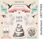 vector vintage set of... | Shutterstock .eps vector #185779403
