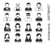 avatar icons users head black... | Shutterstock . vector #185788457