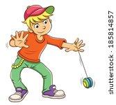 Little boy playing yo yo. EPS10  File simple technique
