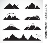 set of mountain icons on white... | Shutterstock .eps vector #185818673