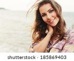 closeup summer portrait of... | Shutterstock . vector #185869403