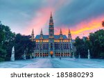 tall gothic building of vienna... | Shutterstock . vector #185880293