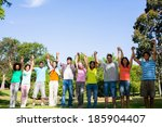 group of friends with hands...   Shutterstock . vector #185904407