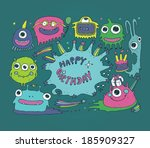 cartoon cute monsters  monster... | Shutterstock .eps vector #185909327