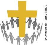 gold cross inside a community... | Shutterstock .eps vector #185945873