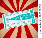 retro cinema ticket. vector... | Shutterstock .eps vector #185973557