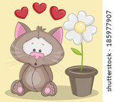 greeting card cat with flower...   Shutterstock .eps vector #185977907