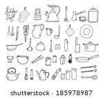 kitchenware. doodle set in... | Shutterstock .eps vector #185978987