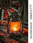 Kerosene Lamp On The Old Woode...