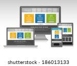 responsive web design on... | Shutterstock .eps vector #186013133