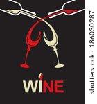 bottles and glasses | Shutterstock .eps vector #186030287