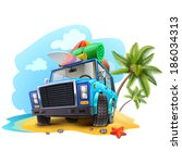travel car on beach | Shutterstock .eps vector #186034313