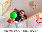 desperate young father while... | Shutterstock . vector #186042737