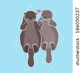 Couple otter, vector illustration  - stock vector