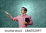 young funny man in glasses... | Shutterstock . vector #186052097