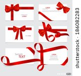 cards with red gift bows and... | Shutterstock .eps vector #186082283