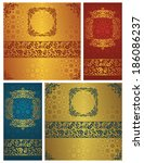 set of floral cards. original... | Shutterstock . vector #186086237