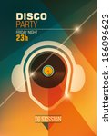 modern disco party poster.... | Shutterstock .eps vector #186096623