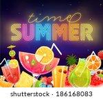 summer holidays vector... | Shutterstock .eps vector #186168083