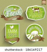 farm fresh food label  badge or ... | Shutterstock .eps vector #186169217