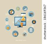 flat vector make money concept... | Shutterstock .eps vector #186169367