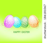 happy easter card with eggs.... | Shutterstock .eps vector #186181067