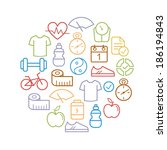health and fitness icons shaped ... | Shutterstock .eps vector #186194843