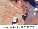 young woman measuring heart...   Shutterstock . vector #186195377