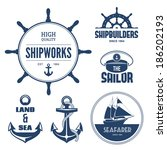 blue nautical signs and labels | Shutterstock .eps vector #186202193