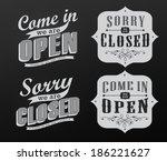 open vintage retro signs ... | Shutterstock .eps vector #186221627