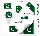 Made in Pakistan collection of ribbon, label, stickers, pointer, badge, icon and page curl with Pakistani flag symbol on design element. Vector EPS 10 illustration isolated on white background.
