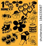 preview icon black bees  honey  ... | Shutterstock .eps vector #186233087