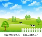 cattle ranch landscape   Shutterstock .eps vector #186238667