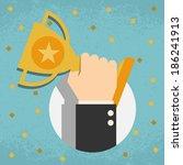 trophy  businessman showing... | Shutterstock .eps vector #186241913