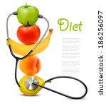 fruit with a stethoscope.... | Shutterstock .eps vector #186256097