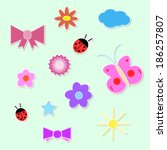 set of colorful spring icons | Shutterstock .eps vector #186257807