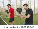 paddle tennis team posing near... | Shutterstock . vector #186293243