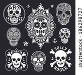 set of skulls | Shutterstock .eps vector #186298727