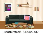 vector illustration , living room