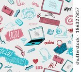 seamless doodle blog social... | Shutterstock . vector #186327857