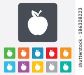 apple sign icon. fruit with... | Shutterstock .eps vector #186328223