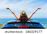 rear view of relaxed woman on... | Shutterstock . vector #186329177