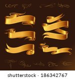 fine line set of golden design... | Shutterstock .eps vector #186342767