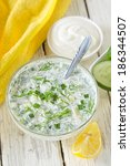 cold soup with cucumber ... | Shutterstock . vector #186344507