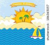 summer paradise beach... | Shutterstock .eps vector #186365057