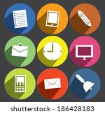office item flat icon set