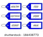 healthy food tags 3 blue | Shutterstock . vector #186438773