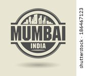 Stamp or label with text Mumbai, India inside, vector illustration